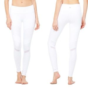 NWOT! ALO Yoga Moto Leggings - White Glossy